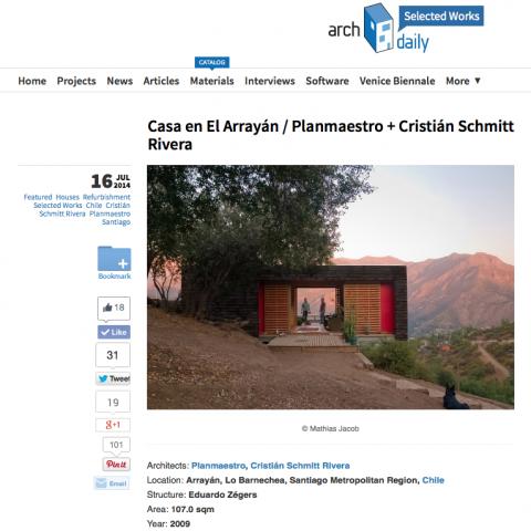 Casa en El Arrayán publicada en Archdaily y en Platafroma Arquitectura